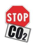 Pare o CO2 escrito no roadsign - imagem do conceito Fotos de Stock