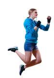 Pare o movimento: menina loura de salto do encaixotamento alto Foto de Stock