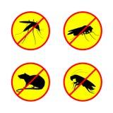 Pare o ningún círculo de la muestra con diseño determinado del vector de insecto de la cucaracha y de la mosca del mosquito de la Imágenes de archivo libres de regalías