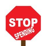 Pare o sinal da despesa Fotografia de Stock Royalty Free