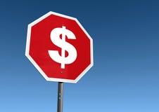 Pare o sinal da despesa Imagens de Stock Royalty Free