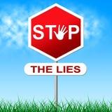 Pare o sinal de aviso e o engano das mostras das mentiras ilustração royalty free
