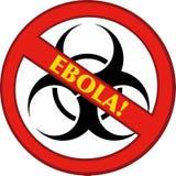 Pare o sinal de Ebola com bio símbolo e texto do perigo Foto de Stock Royalty Free