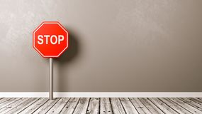 Pare o sinal de estrada no assoalho de madeira Fotografia de Stock Royalty Free