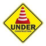 Pare o sinal de tráfego sob a construção Fotografia de Stock