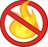 Pare o sinal do fogo com chama ardente Foto de Stock Royalty Free