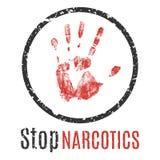 Pare o sinal dos narcóticos Imagem de Stock Royalty Free