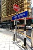 Pare o sinal em Leboh Ampang Imagens de Stock Royalty Free