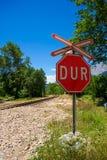 Pare o sinal, porta do trem Imagens de Stock