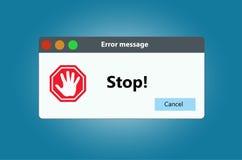Pare o sinal que a janela de advertência estala acima No fundo branco Imagem de Stock Royalty Free