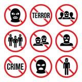 Pare o terrorismo, nenhum crime, nenhuns sinais de aviso do grupo terrorista Imagens de Stock