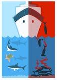 Pare o tubarão que finning Ilustração de cor do vetor Fotografia de Stock