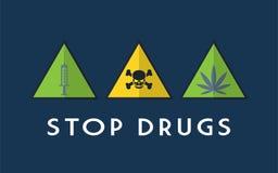 Pare o vetor da ilustração das drogas Fotos de Stock Royalty Free