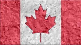 Pare os desenhos animados feitos argila da bandeira de Canadá do movimento feitos a mão como o laço dos seamles da animação - col video estoque