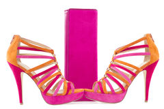Pare of pink and orange shoes and a matching bag Royalty Free Stock Photography
