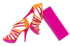 Pare of pink and orange shoes with matching bag, isolated Royalty Free Stock Image