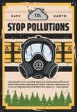 Pare a poluição, ecologia, contaminação do ambiente ilustração stock