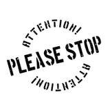 Pare por favor el sello de goma Foto de archivo