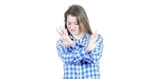 Pare, rechazando gesto, por la mujer, el fondo blanco, joven,