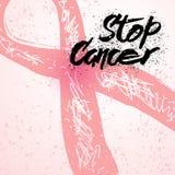 Pare a rotulação tirada mão do câncer para o cartão da conscientização do câncer da mama Imagens de Stock