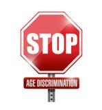 pare, señal de tráfico de la discriminación por razón de edad Foto de archivo