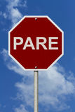 Pare Sign Foto de Stock Royalty Free