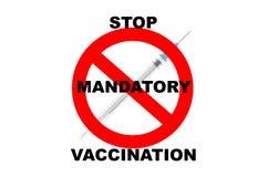 Pare a vacinação imperativa Fotografia de Stock