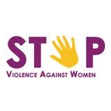 Pare a violência contra as mulheres isoladas no branco ilustração royalty free