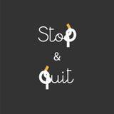 Pare y abandone el fumar de las letras del concepto Imagen de archivo libre de regalías