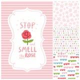 Pare y huela las decoraciones de la rosa fijadas Foto de archivo libre de regalías