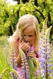 Pare y huela las flores Fotografía de archivo libre de regalías