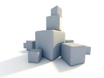 Parecchi cubi bianchi in bianco del blocco su fondo bianco Fotografie Stock Libere da Diritti