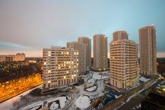 Parecchi edifici residenziali di palazzo multipiano Immagini Stock Libere da Diritti
