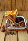Parecchi generi di spezie per cucinare Fotografia Stock