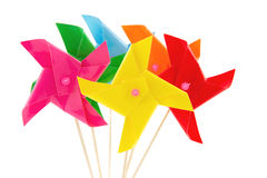 Parecchi giocattoli dei mulini a vento per i bambini Fotografia Stock Libera da Diritti