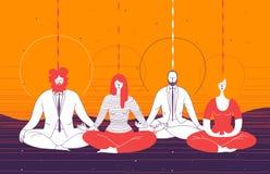 Parecchi impiegati di concetto in abbigliamento astuto si siedono nella posizione di yoga e meditano Concetto della meditazione d royalty illustrazione gratis