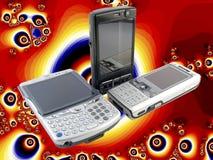 Parecchi telefoni mobili moderni psichedelici Fotografie Stock Libere da Diritti