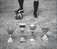 Parecchi trofei di calcio contro il giocatore di football americano Fotografia Stock