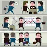 Parecchie immagini che descrivono la vita di tutti i giorni di un uomo d'affari illustrazione di stock