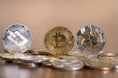 parecchie monete cripto state allineate di valuta Fotografia Stock Libera da Diritti