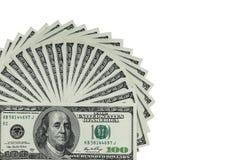 Parecchie 100 note dei soldi degli Stati Uniti $ si sono sparse fuori nella forma del fan Fotografia Stock