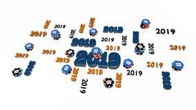 Parecchie progettazioni della mazza 2019 con molti chip royalty illustrazione gratis