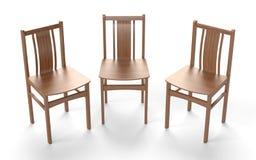Parecchie sedie di vecchio stile sui precedenti bianchi illustrazione vettoriale