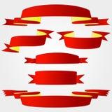 Parecchie serie rosse di vettore del pacchetto di selezione del nastro Fotografia Stock
