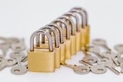 Parecchie serrature in una fila Immagini Stock