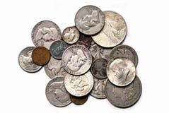 Parecchie vecchie monete Fotografie Stock Libere da Diritti