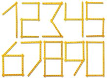 Parecer de la regla del carpintero números    Imagen de archivo libre de regalías
