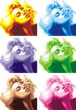 Parecer rubio de la muchacha Marilyn Monroe stock de ilustración