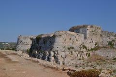 Paredões externas, castelo de Methoni Imagens de Stock