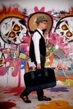 Pared adolescente de la pintada de la maleta Fotografía de archivo
